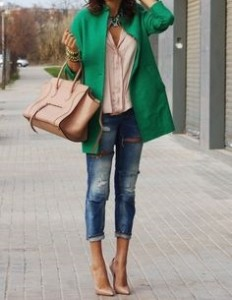 Chelsea Crockett- emerald green and tan outfit